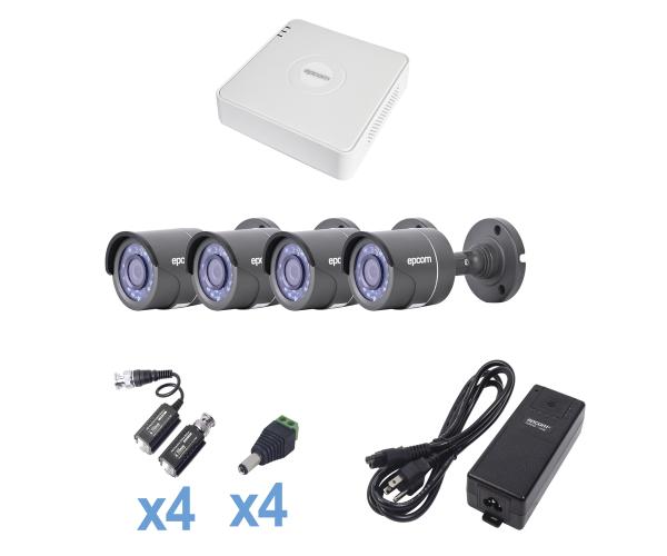 ✅ Sistema TURBO HD720p, Incluye DVR de 4 canales cableado y fuente de poder profesional