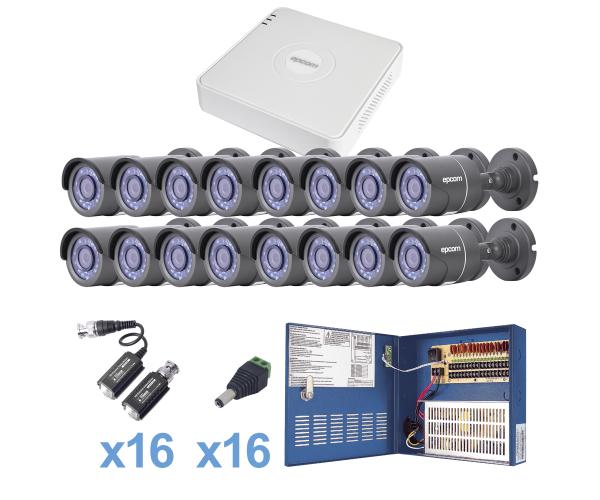Sistema TURBO HD720p con DVR 16ch y 16 cámaras balas con lente exterior e interior de 3.6mm