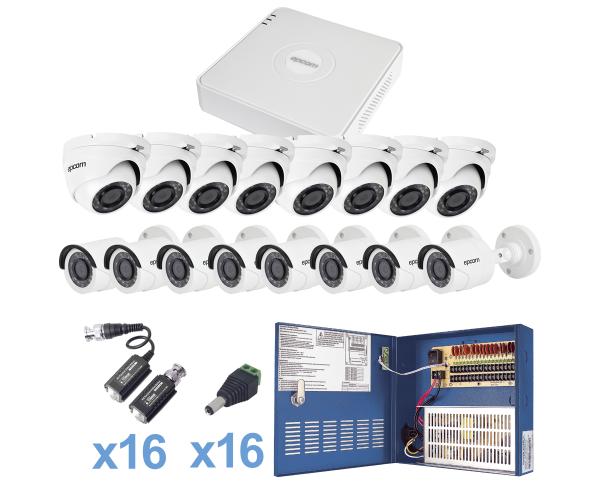 Sistema TURBO HD720p con 8 cámaras bullet color blanco interior - ext de 3.6mm y 8 cámaras eyeball con cableado