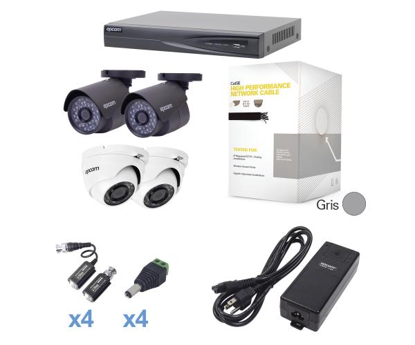 ✅ Sistema TURBOHD 1080p con DVR de 4 canales y 2 cámaras bala con cableado y fuente de poder profesional