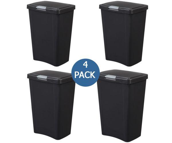 ✅ Contenedor Sterilite de plástico para basura con tapa presiona y abre de 49 litros