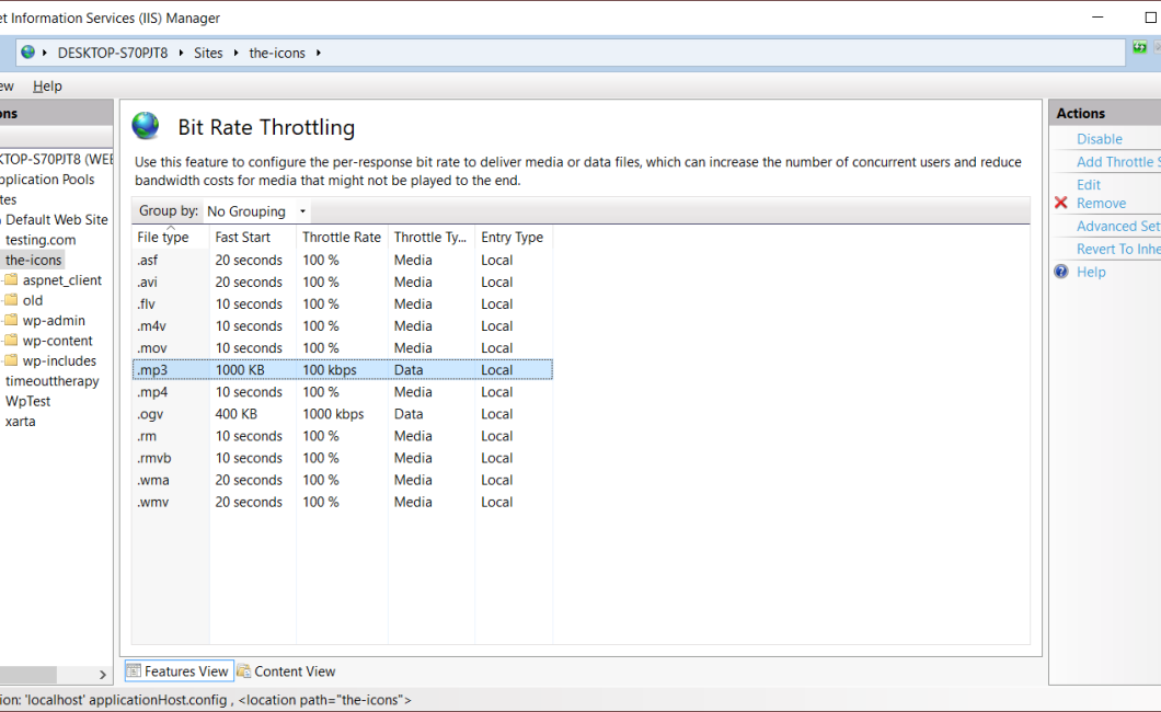 Screen shot of IIS Bit Rate Throttling screen listing content types to edit throttle attributes