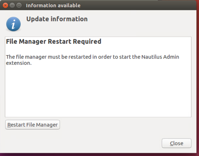Nautilus Admin File Manager Restart Required screenshot