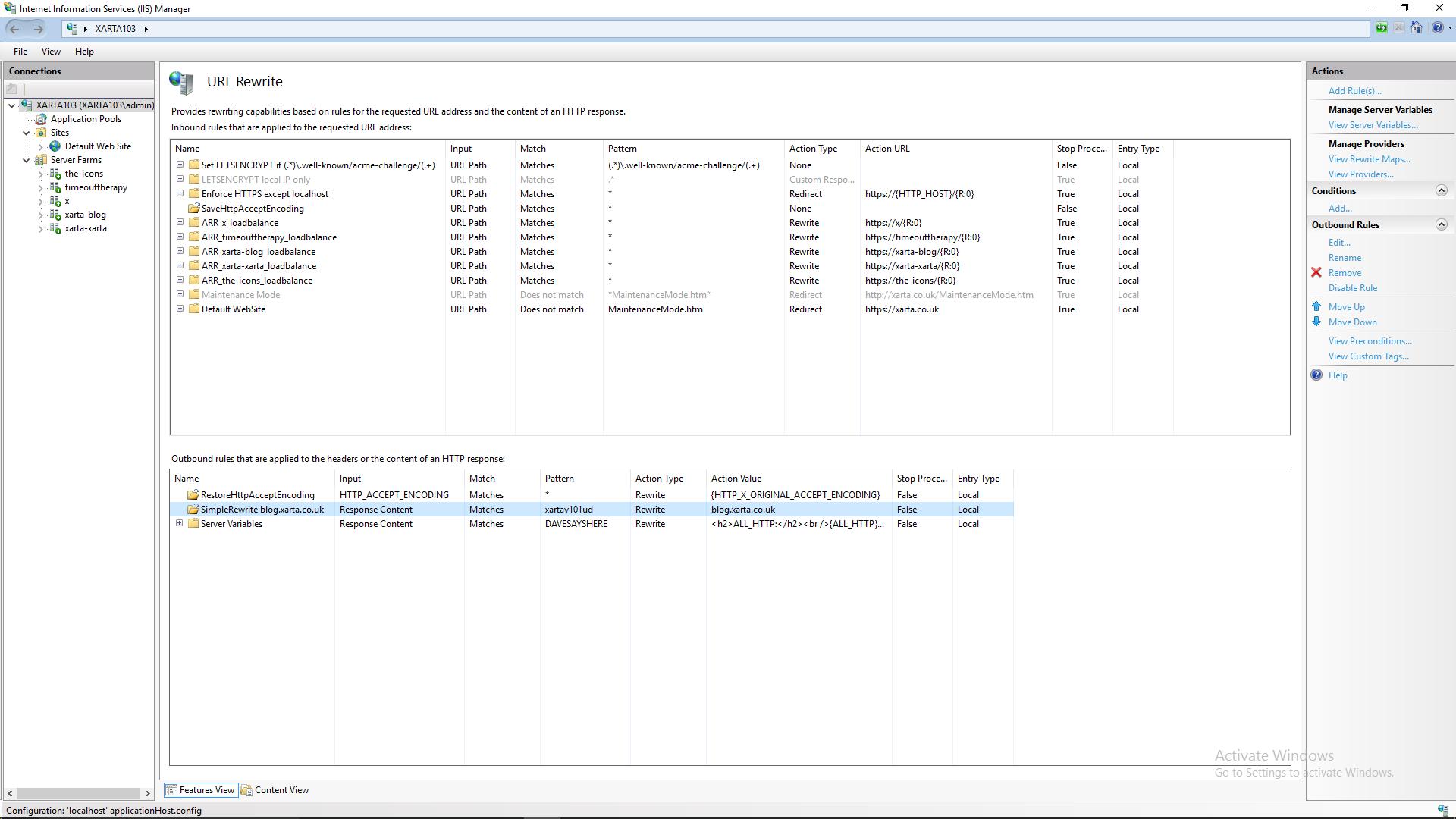 Screenshot of my DMZ IIS Reverse Proxy Rewrite Rules