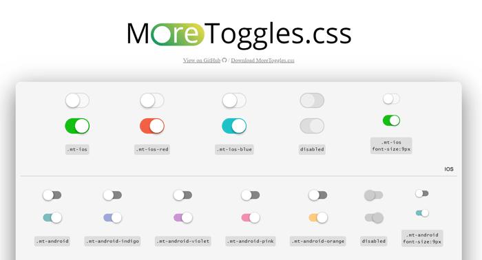 More Toggles.css – набор переключателей на чистом   css