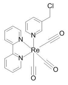 Structure of 3-Chloromethylpyridyl bipyridine fac-tricarbonyl rhenium.