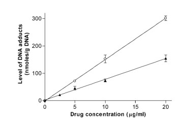 Adapted from Gould KA, Nixon C, Tilby MJ. p53 elevation in relation to levels and cytotoxicity of mono- and bifunctional melphalan-DNA adducts. Mol Pharmacol. 2004 Nov;66(5):1301-9. doi: 10.1124/mol.104.000596. Epub 2004 Aug 12. PMID: 15308759. Relationship between the concentration of alkylating agent and the level of DNA adducts in ML-1 cells immediately after a 1-h exposure to melphalan (Œ) or monohydroxymelphalan (E). DNA adducts were assayed by competitive ELISA using antibody MP5/73. Typical data from one of three separate experiments are shown. Each point represents the mean of three replicate ELISA determinations. Error bars represent S.E.M. where this is greater than the symbol.