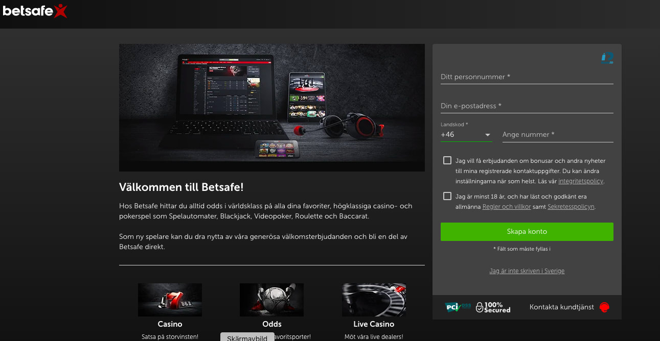 Betsafe casino Registreringen