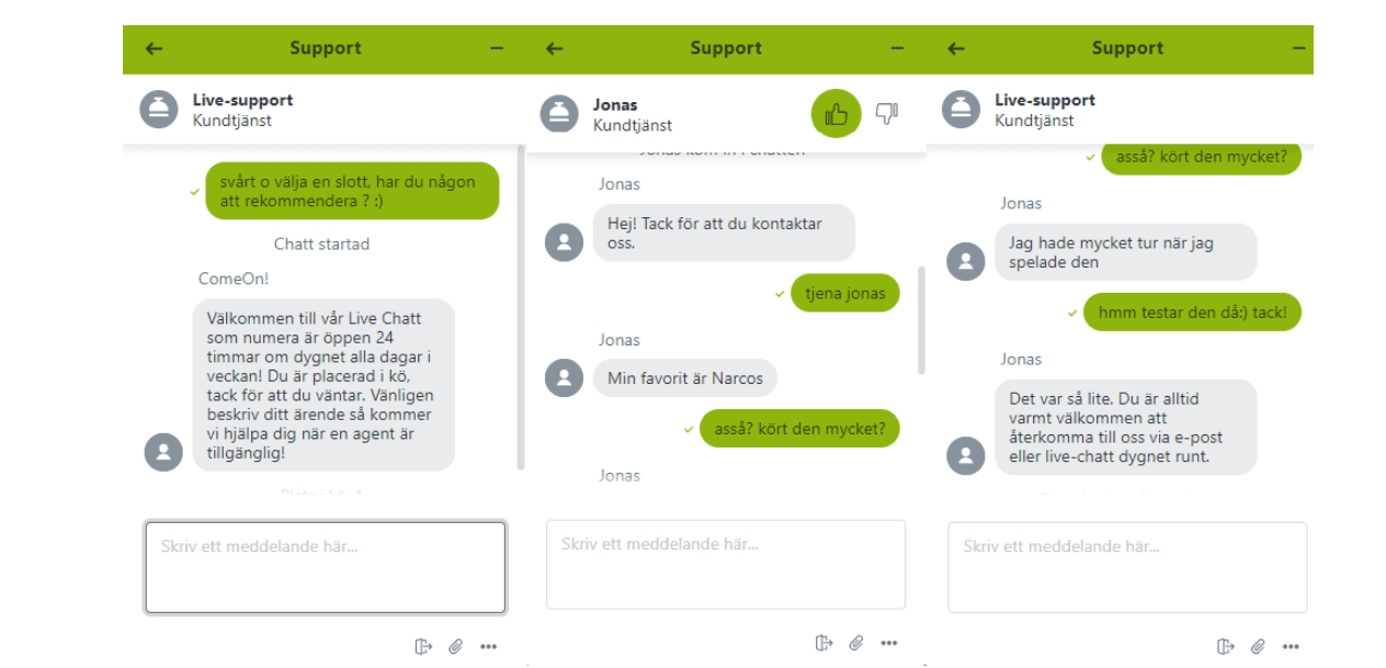 comeon casino chat support1