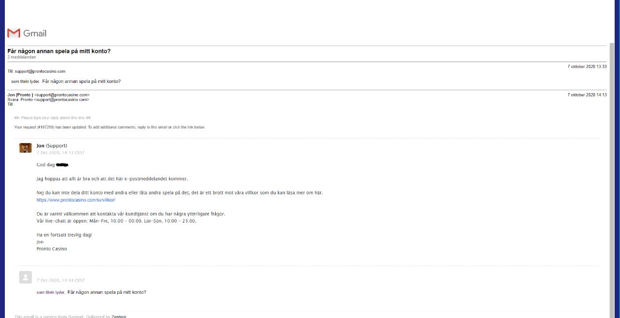 email pronto casino