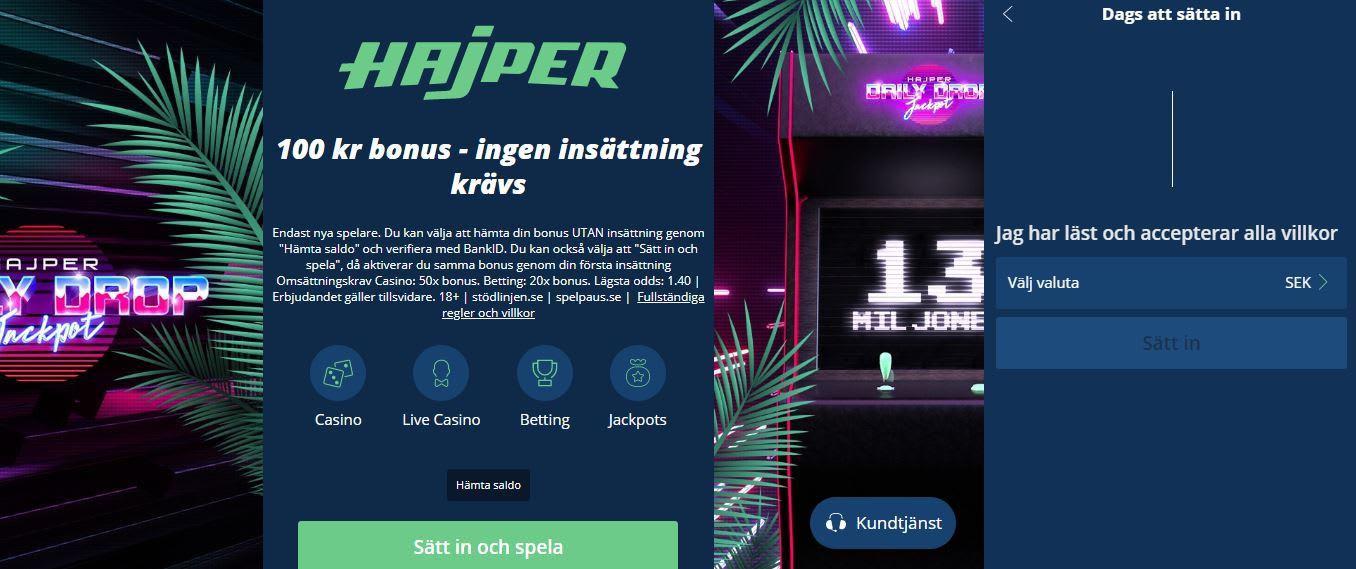 hajper casino registrering