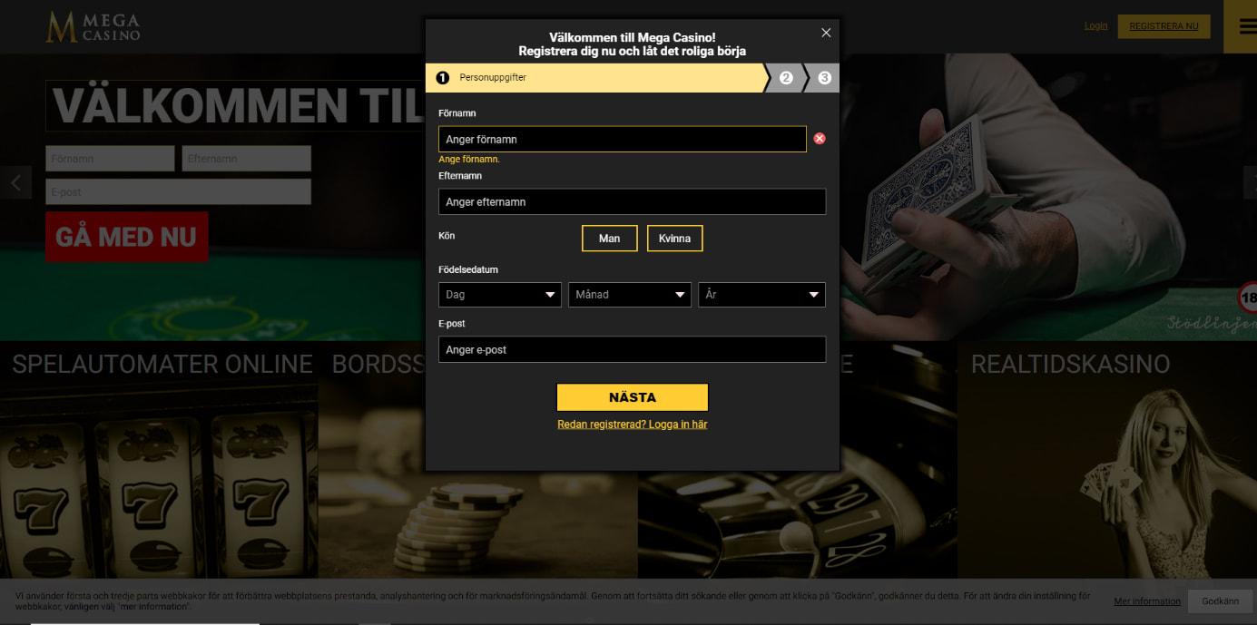 Mega casino registreringsformulär