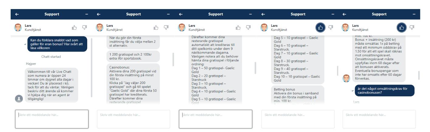 Hajper casino chatt support 1