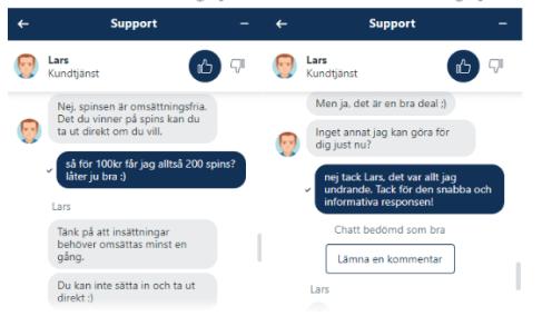 Hajper casino chatt support