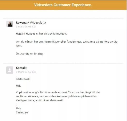 videoslots email svar