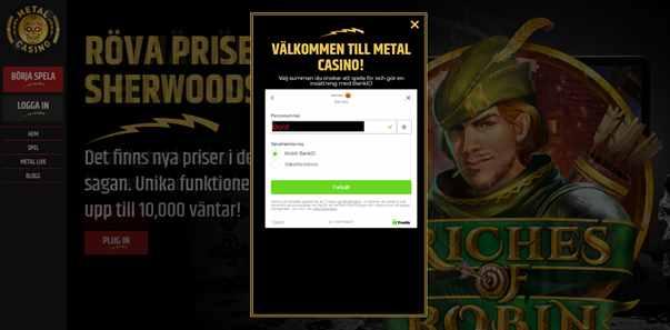 Metal casino Registreringen