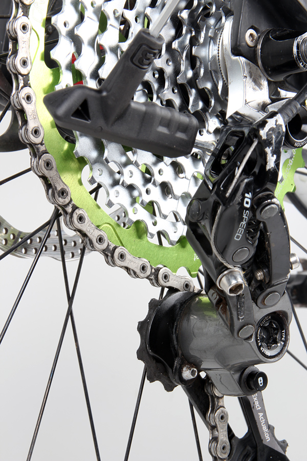 With the chain length corrected, shift into the new cog and check there's sufficient clearance between the upper jockey wheel and the 42 cog. The best shifting is usually achieved by positioning the derailleur as close as possible to the big cog. Unwind the B-tension until there's only 3-4mm clearance between the jockey wheel and the 42 cog. Try shifting back and forth between the 36 and 42 cogs and tighten the B-tension if the derailleur clashes with the cassette.