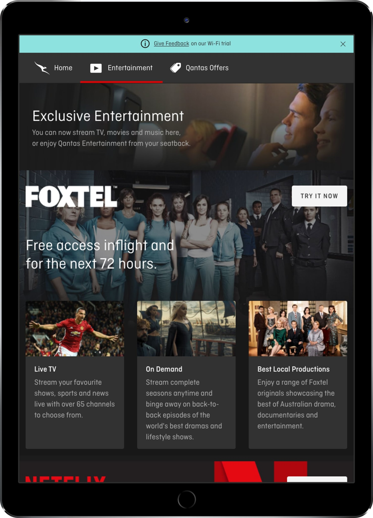 Qantas serves up live sport, Foxtel, Netflix and Spotify on