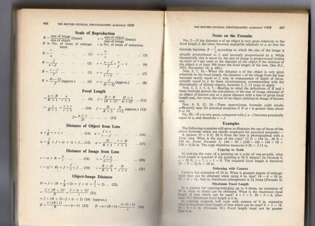 Two pages from the 1958 Photographic Almanac display a level of technical detail that most photographers would find terrifying. Fortunately, you don't need a degree in pure mathematics to enjoy photography. A good understanding of a few basic principles will help you reach your creative goals.