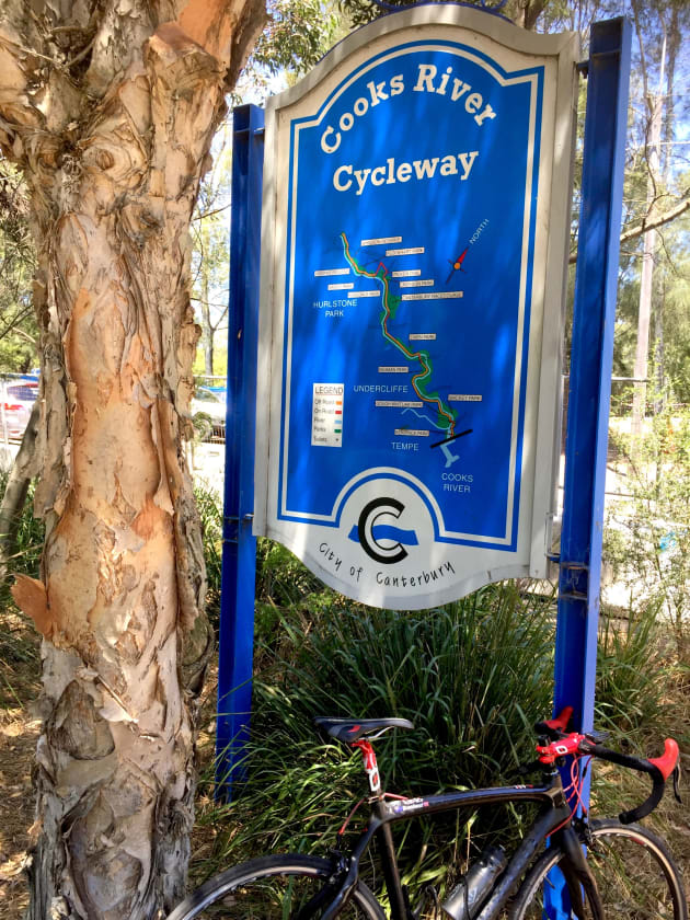 The entire length of the Cooks River Cycleway is well sign posted.