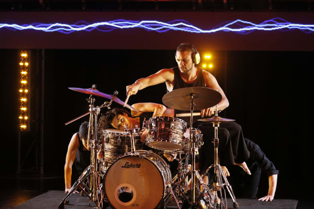 Drummer Myele Manzanza was as much of a dancer as the other performers. Photo: Jeff Busby.