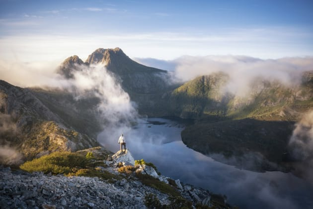 "'Step out'  ""The morning began with the entire valley a dense sea of fog,"" says Patino. ""Soon though, the wind changed direction and in less than a minute the entire valley was cleared, revealing the beautiful calm reflections of Dove Lake and the iconic peak of Cradle Mountain. My friend Zach helped give some scale as he takes in what would have to be one of Australia's finest views."" Sony A7RII, Sony 16-35mm f/4 lens, 1/125s @ f11, ISO 200, handheld."