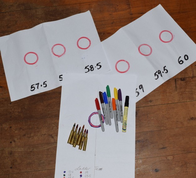 "1. The Sharpie-led ""ladder test"" target with six different Sharpied handloads bottom left. The as yet unshot grouping targets could wait until after my sweltering January hunt."