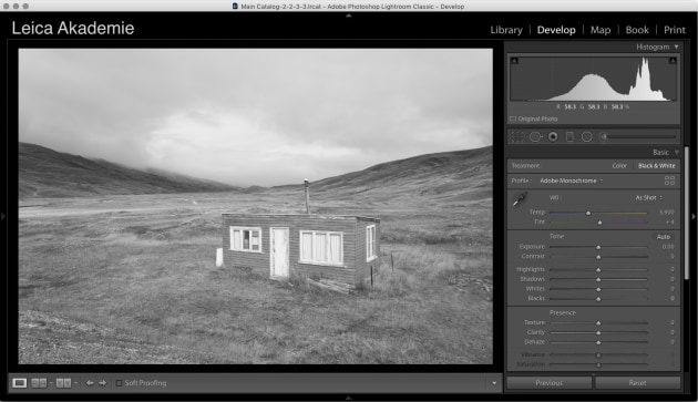 Clicking on the Black & White option in the Basic Pane of the Develop Module yields this vanilla conversion which is deadly dull and shows just how similar in tone the grey of the hut is compared to the orangey/brown grass.