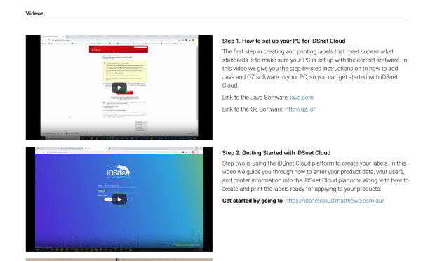 Matthews has created step-by-step videos on setting up iDSnet Cloud.
