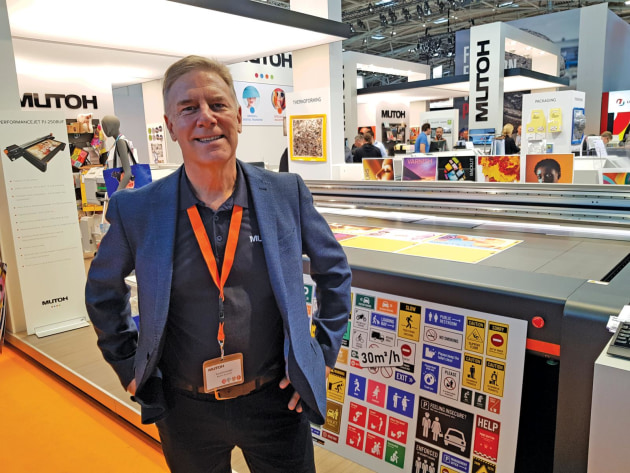 New phase: Russell Cavenagh, Mutoh, with the PerformanceJet UV flatbed launched at Fespa