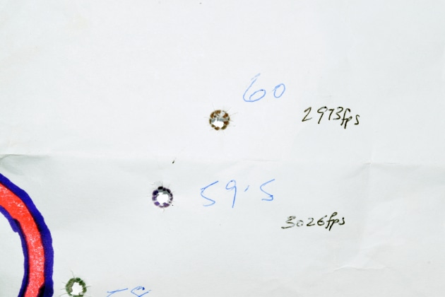 5. Coloured bullet holes of 60gn-brown, 59.5gn-purple and green for the 58gn load.