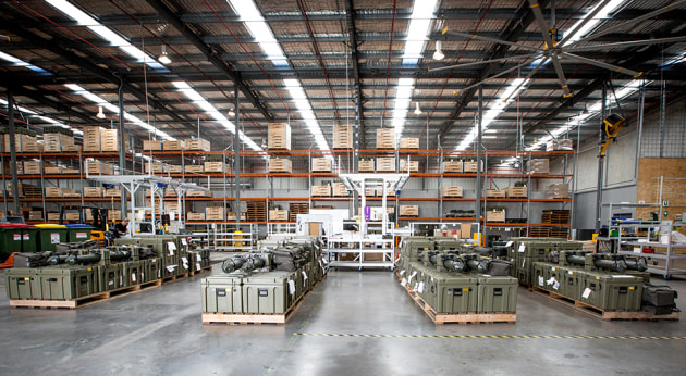 A Boeing warehouse containing Project Currawong equipment to be delivered to Army under Land 2072 Phase 2B. Credit: BDA