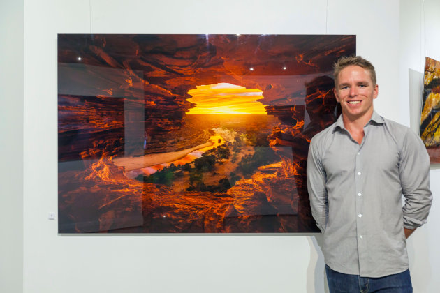 Dylan Fox, a Perth-based landscape shooter, sells work on the web but also encourages viewers to see his work in person in a gallery.