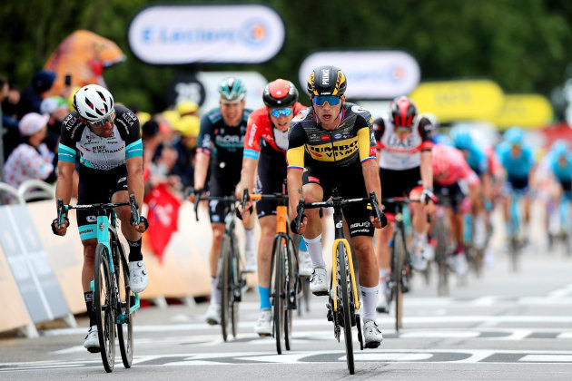 Michael Matthews finished Stage 1 in second place with Primoz Roglic third and Aussie Jack Haig an impressive fourth. Image: ASO