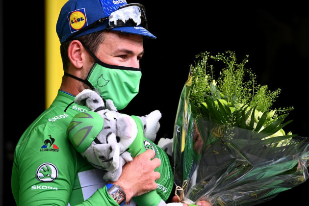 Mark Cavendish is now in the sprinters jersey. With Michael Matthews 11 points behind him the Green Jersey competition is shaping up to be an exciting one to watch. Image: Deceunink-Quickstep.