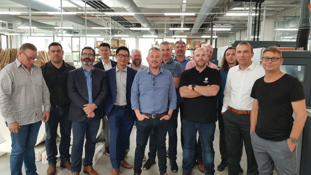 All4Labels: Aussie and Kiwi printers with Mark Daws (centre blue shirt) at the Hamburg site