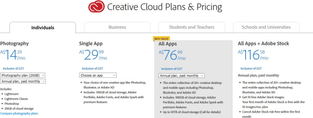 adobe creative cloud photography plan with 20gb storage