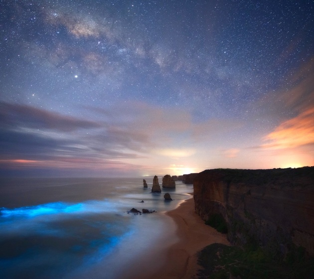 Josh Beames, Bioluminescence, captured over the twelve apostles, Great Ocean Road.