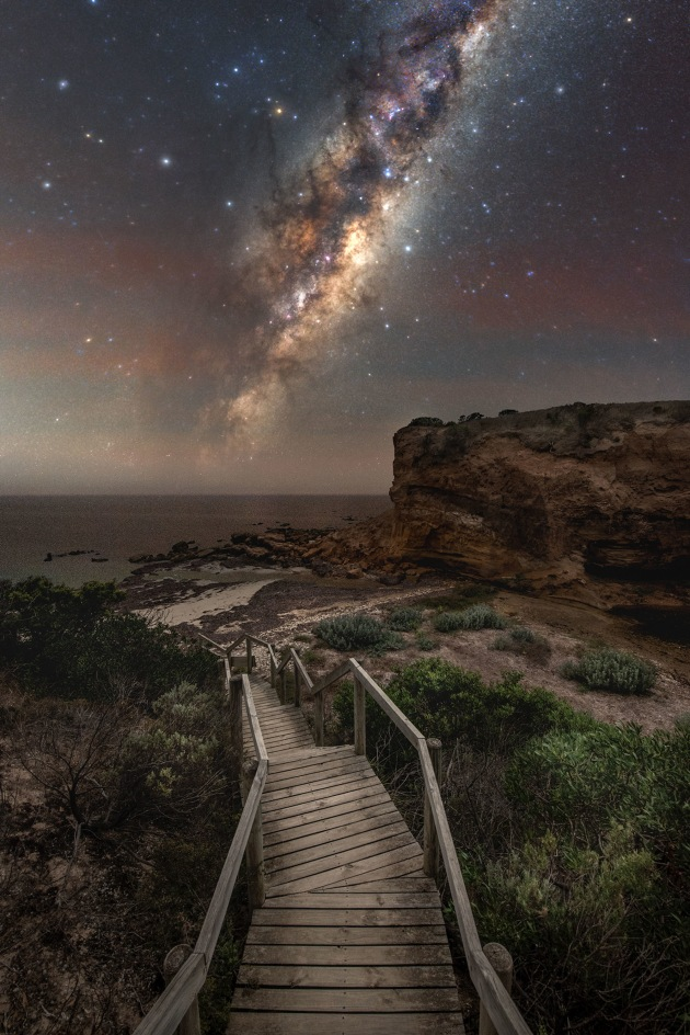 """© Blntpencil - """"The Forgotten side of Kanagaroo Island""""  Baudin Beach, Kangaroo Island, Australia This image was captured at Baudin Beach on Kangaroo Island. This part of the island was luckily not affected by the devastating bushfires in 2020. It is a capture of the rising Galactic Center floating above the ocean and represents the way of life on the island """"where people live at one with nature."""""""