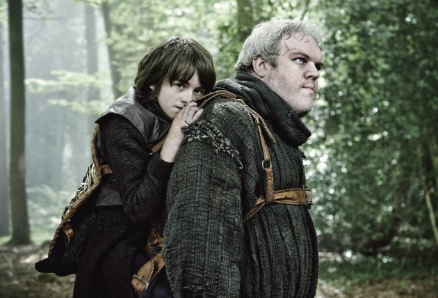 Isaac Hempstead-Wright (left) as Bran Stark and Kristian Nairn as Hodor. Natural light with poly bounce. Graded using Adobe Lightroom and Photoshop. Nikon D3, 24-70mm f/2.8 lens @ 70mm, f/4.5 @ 1/125s, ISO 800. Photo by Helen Sloan (HBO).