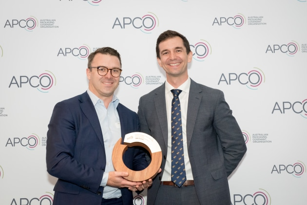 Big winner: Lachlan Feggins, director sustainability, Chep Asia-Pacific (left) accepts the award from Trevor Evans, Assistant Minister for Waste Reduction and Environmental Management
