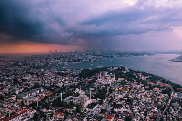 Istanbul, Turkey. Large scale storms and wild cloud formations are one of my favourite subjects to photograph. As the sun was ready to set, I ran to a quite nearby park and positioned the mosques in line with the storm. DJI Mavic 2 Pro. 1/120s @ f4, ISO 100. -O.7EV.