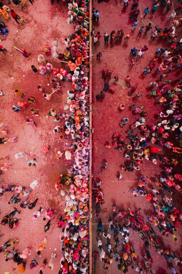 Nandgaon Holi, India. Using a 50 / 50 split technique I captured a wall of photographers looking down on the colourful and watery madness of the day below. Using simple compositions with unique and abstract subjects helps to keep the viewer intrigued. DJI Mavic 2 Pro. 1/320s @ f4, ISO 100. -O.7EV.