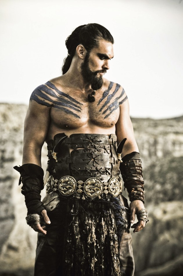 Khal Drogo played by Jason Momoa, shot on location in Malta. Camera encased in a Jacobson Blimp. Natural light with poly bounce. Nikon D3, 70-200mm f/2.8 lens @ 200mm focal length, f/8 @ 1/640s, ISO 640. Photo by Helen Sloan (HBO).