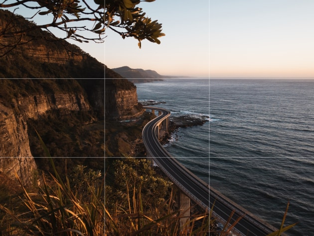 Sea Cliff Bridge, NSW. Turning on the grid helped compose and straighten this shot in-camera, meaning less cropping for better detail.