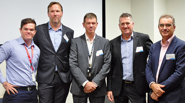 Mastering digital label printing at Holmesglen are (from left) Joseph Brown, QLM; Adrian Flemming, printIQ; Paul Ross, Holmesglen; Enda Kavanagh, XMPie; and David Cascarino, Konica Minolta