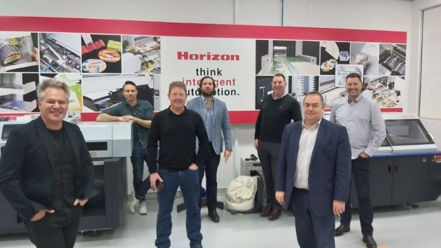 Pre-booked printers visit Currie Group to check out the latest finishing developements at Horizon by Appointment, with appropriate distancing social maintained: Pictured are: (l-r) Peter Massaro and Ken Beck, Carbon8; Michael McDiarmid, Emerald Press; Will Currie, Anthony AJ Jackson, Bernie Robinson and John Richmond form Currie Group.