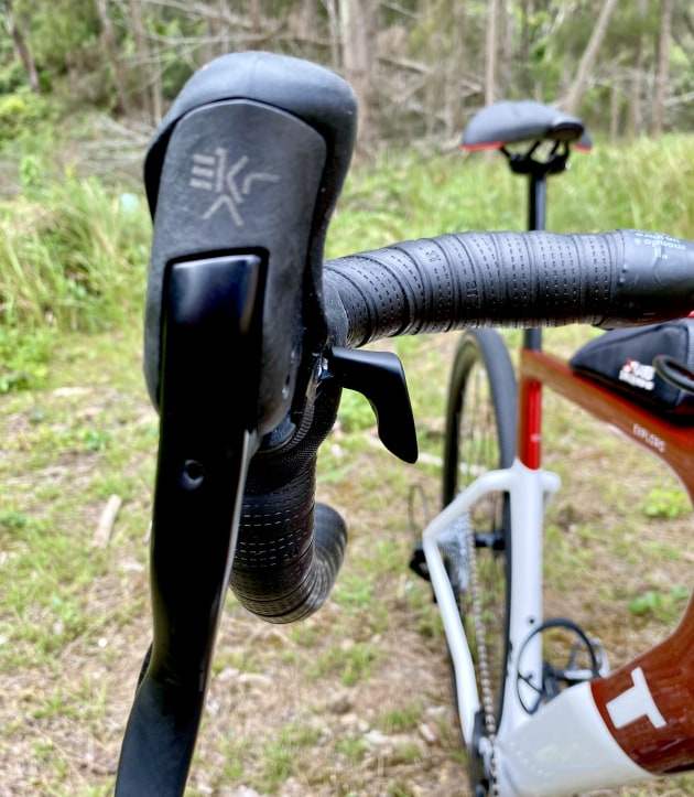 The new Ekar groupset features a thumb hook to assist with positive gear changes.
