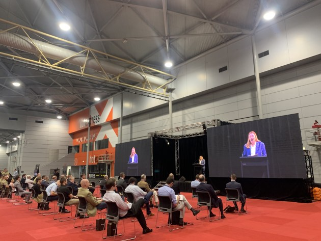 Chief Defence Scientist Tanya Monro speaking at Quantum Technology Challenge (QTC) 2021 on Defence's investment into quantum technology R&D. (Credit: Roya Ghodsi