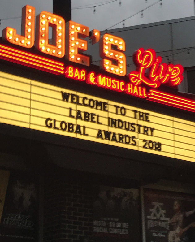 Joe's Live Bar and Music Hall, Chicago, hosted the Label Industry Global Awards 2018.